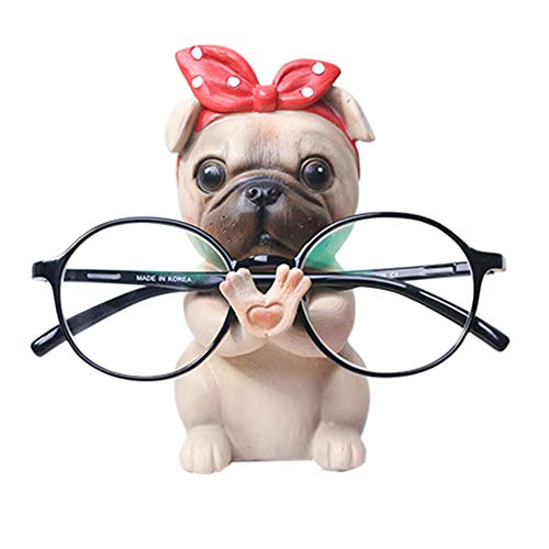 Puppy Dog Glasses Holder Stand Eyeglass Retainers Sunglasses Display Cute Animal Design Gift (Pug)]()