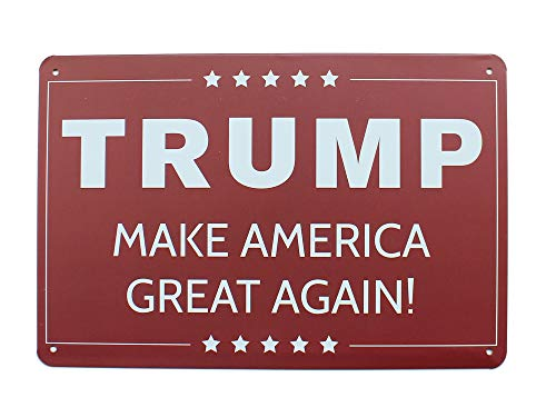 K&H President Trump Make America Great Metal Tin Sign Posters Wall Decor 12X8-Inch (Trump)