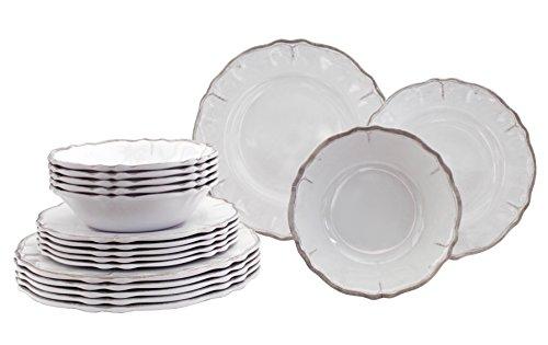 Le Cadeaux 18 Piece Luxury Melamine Dinnerware Set, Service for 6 (Rustica Antique White)