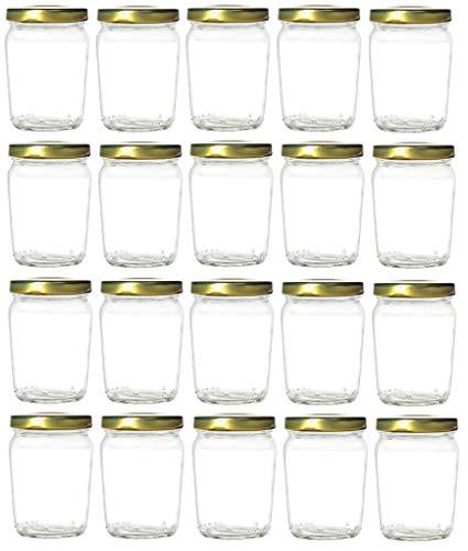 Nakpunar 20 pcs 6 oz Honey Pot Glass Jars with Gold Lids - MADE IN USA - Globe, Spherical (6 oz - Honey Pot, Gold)