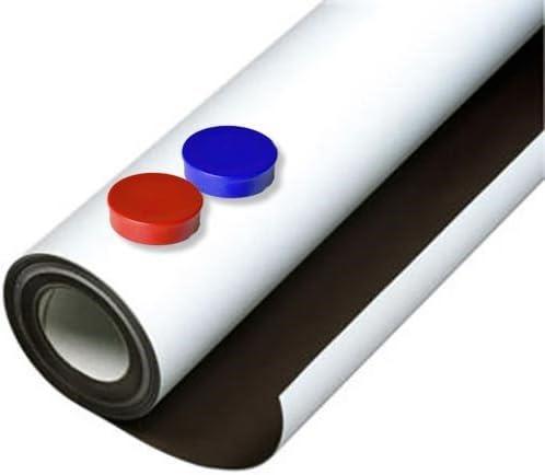 Lámina de hierro blanco mate autoadhesiva 0,8mm x 20cm x 20cm - Ideal para la creación de tableros y todo tipo de aplicaciones innovadoras en las que se utilizan imanes