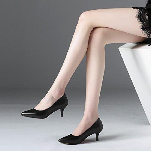 GAOLIM Zapatos De Mujer Zapatos De Mujer Zapatos De Punta Funcionan Bien Con Zapatos De Mujer Zapatos De Mujer Cómodos Zapatos Única Hembra De Luz Negro