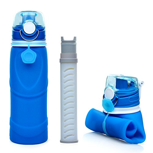 Collapsible Water Bottle, Swify BPA-Free Silicone Water Bottles with 2-Stage Integrated Filter, Lightweight, Leak Proof, Can Roll Up, 750ml for Camping, Hiking, Backpacking, Travel, Sport
