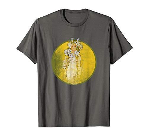 Vintage art nouveau shirt Alphonse Mucha lily ()