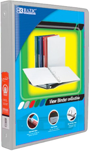 Bazic 1/2'''' Grey 3-Ring View Binder with 2-Pockets Case Pack 12 Computers, Electronics, Office Supplies, Computing