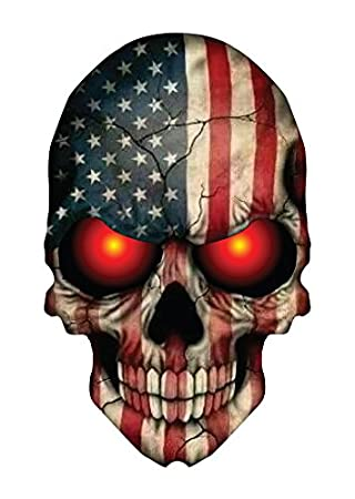 Skull decal with american flag and glowing red eyes