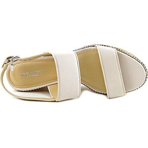 Coach Quartz Mujer Open Toe Leather White Plataforma Sandalia Tiza