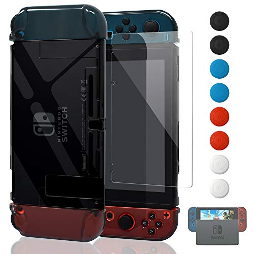 Updated Dockable Case Compatible Switch,FYOUNG Protective Accessories Clear Case Compatible Switch and Switch Joy-Cons with a Tempered Glass Screen Protector - Grey from FYOUNG