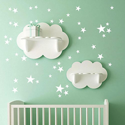 Iuhan Star Wall Sticker, 51Pcs Star Removable Art Vinyl Mural Home Room Decor Kids Rooms Wall Stickers (White) ()