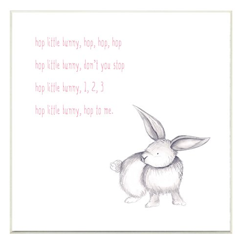 Stupell Home Décor Hop Little Bunny Rhyme Rabbit Wall Plaque Art, 12 x 0.5 x 12, Proudly Made in USA -