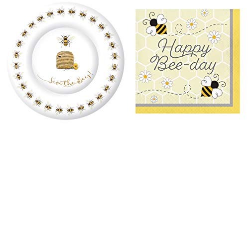 Happy Bee-Day Birthday Bee-Themed Serve 16: Dinner Plates + Lunch Napkins ()