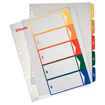 Esselte Índices Proyectos Imprimibles, Tamaño A4 maxi, 5 pestañas, Multicolor, 100211: Amazon.es: Oficina y papelería