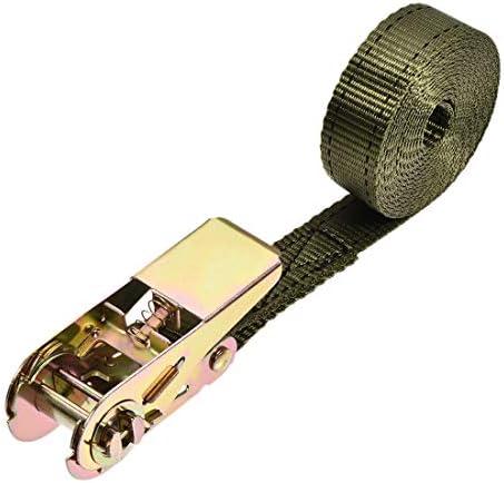 uxcell ラッシングストラップ 2.5 M x 25mm 800kg カーゴタイダウンストラップ ラチェットバックル付き アーミーグリーン