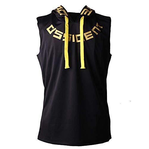 - Falonny Gym Hoodie Men Bodybuilding Stringer Tank Top Muscle Mens Workout Sleeveless Shirt (Black 1, L)