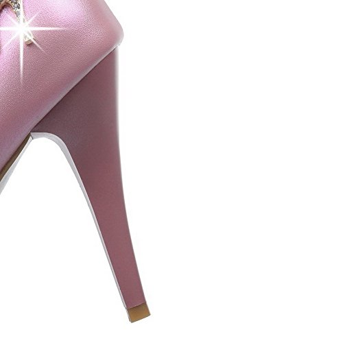 AmoonyFashion Womens Solid PU High-Heels Pull-On Round Closed Toe Pumps-Shoes Pink D51kfTIl