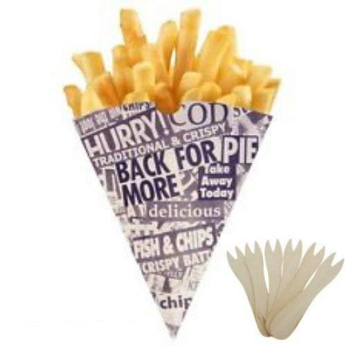 100 conos para patatas fritas (incluye 100 tenedores de madera), diseño de papel de periódico: Amazon.es: Alimentación y bebidas