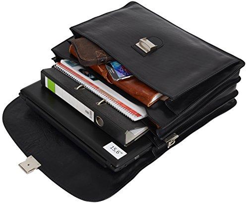 """Gusti Cuir studio """"Gordon"""" sac business made in Italy sac bureau attache-case en cuir véritable sac notebook ordinateur portable 15,6"""" sac professeur hommes femmes noir 2B35-93-2"""