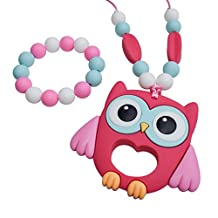 Munchables Chewelry - Pink Owl Chew Necklace & Bracelet Set (Sensory Chewable Aides for Sensory, Oral Motor, Anxiety, Autism)