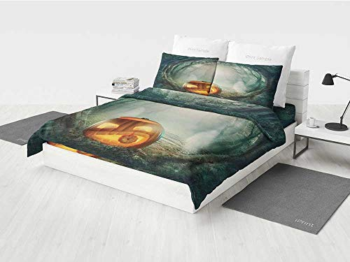 Halloween Decorations Construction Bedding Set Scary Halloween Pumpkin Enchanted Forest Mystic Twilight Party Art Printing Four Pieces of Bedding Set Orange Teal -