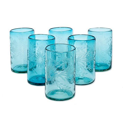 (NOVICA Hand Blown Blue Recycled Glass Tumbler Etched Glasses,14 oz 'Aquamarine Flowers' (set of 6))