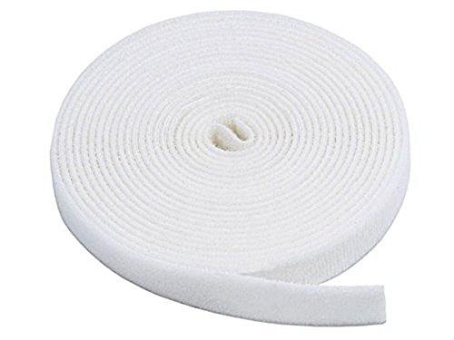 GCA Hook and Loop Tape 3/4-Inch Reusable Cable Management Cable Tie Roll (25 Yards,White)