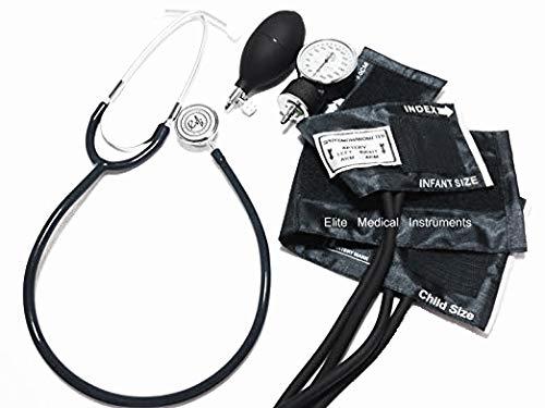 EMI #311 BLACK Pediatric Aneroid Sphymonamoneter Set Child and Infant cuff Plus Basic Dual Head Stethoscope -