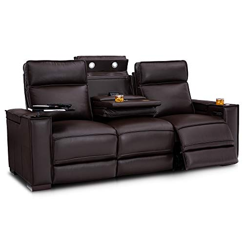 - Seatcraft Anthology - Home Theater Seating - Sofa - Leather - Power Recline - Adjustable Powered Headrests - Center Fold-Down Table - in-Arm Storage - AC USB Wireless Charging - Cup Holders - Brown