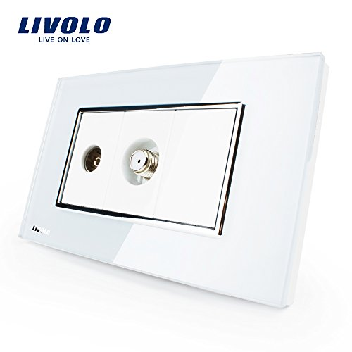 LIVOLO White US/AU Standard TV & SATV Socket Luxury Tempered Glass Panel, C391VST-81 by LIVOLO