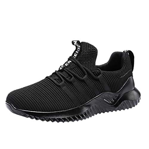 TANGSen Men's Wild Outdoor Sport Shoes Low-Top Fashion Woven Breathable Sneakers Lightweight Non-Slip Casual Shoes Black ()