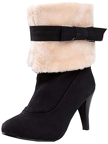 women in boots with Black snow boots Fine the high heeled boots q4BSHO8w