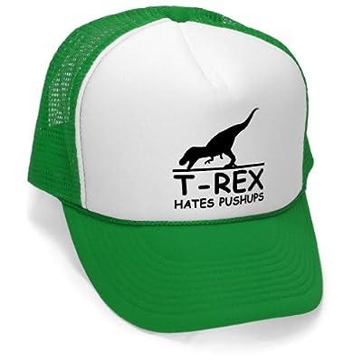 Megashirtz - T-Rex Pushups - Vintage Style Trucker Hat Retro Mesh Cap