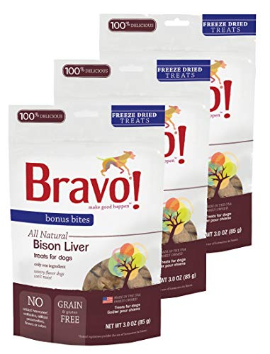 Freeze Dried Buffalo - Bravo! Dog Treats Freeze Dried Buffalo Livers - All Natural - Grain Free - 3 oz. 3 Pack