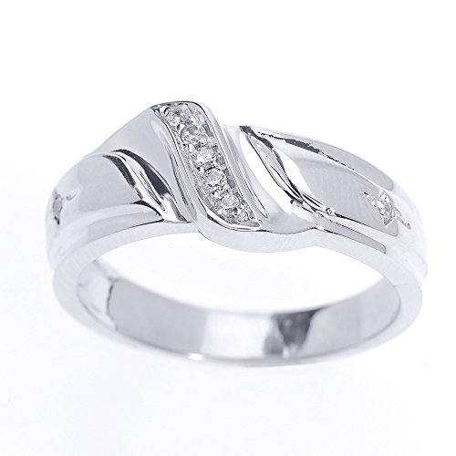 Men's 925 Sterling Silver 7-Stone Diamond Wedding Band, Size 9 (Prong Diamond Wedding Band)