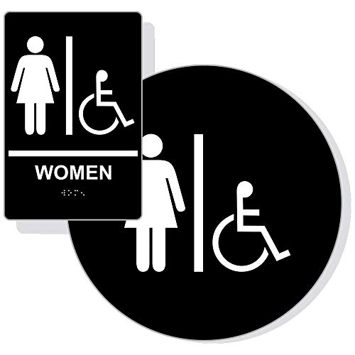 Accessible Women's Restroom Sign Set for Wall/Door, ADA-Compliant Braille with Symbol, White on Black Acrylic by ComplianceSigns ()