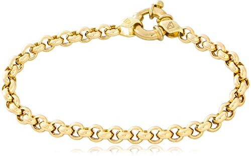 14k Rolo (14K Yellow Gold Rolo Chain Bracelet with Fancy Clasp | Hollow 5.0mm | Length 8