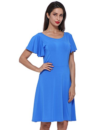 GAMISS Women's Ruffle Sleeve Stretchy A Line Sw...