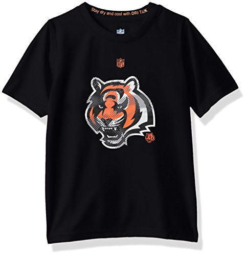 NFL Youth Boys Carbon Logo Performance Short Sleeve Tee-Black-S(8), Cincinnati Bengals