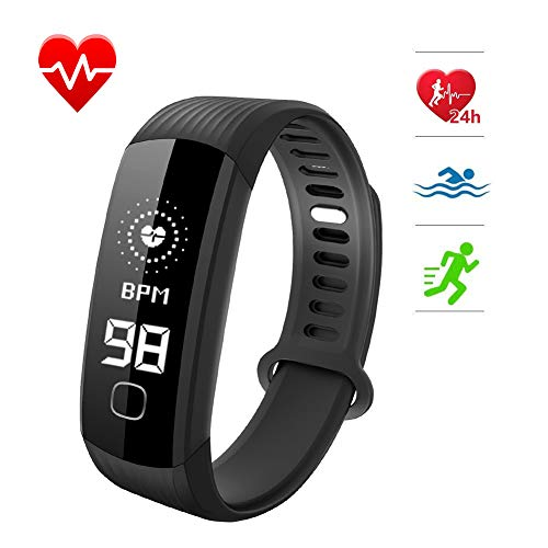 Fitness Tracker, Smart Bracelet Wristband with Real Time Heart Rate Monitor Activity Tracker Stopwatch Pedometer Sleep Monitor Call and SMS Reminder Calorie Burned Counter for IOS Android (Black)