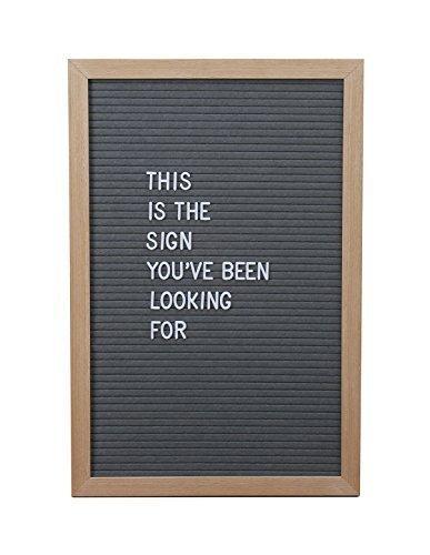 12 x 18 inch GRAY Changeable Big Felt LETTER BOARD set – 510 Letters EMOJIS & SYMBOLS – PREMIUM QUALITY – Solid Oak Frame – EVENTS Wedding HOME DECOR Party EASTER Shops Restaurants GIFT