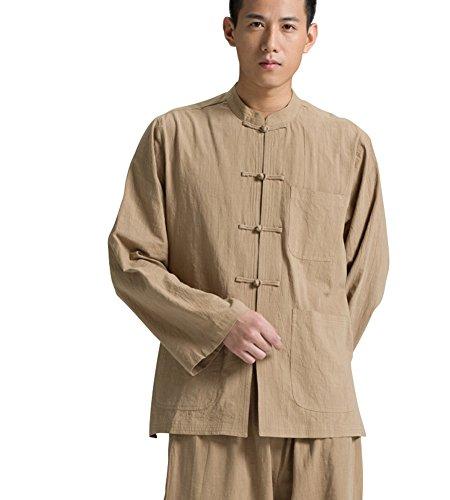 Katuo Chinese Traditional Long Sleeved Shirt Stand Collar Men's Shirt (XXL, Khaki)