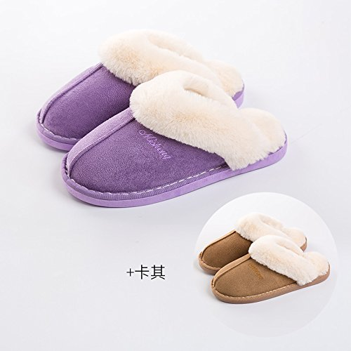 DogHaccd pantofole,Il cotone pantofole donne eleganti fondo spesso giovane inverno caldo al coperto le donne in stato di gravidanza non-slip home uomini semplice home scarpe, viola + kaki (maschio), f