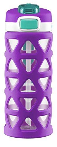 Ello Luna Kids Tritan Plastic Water Bottle with Silicone Sleeve, 16 oz, Purple