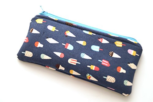 - Novelty Padded Glasses Case or Small Cosmetic Pouch with Ice Cream and Popsicles