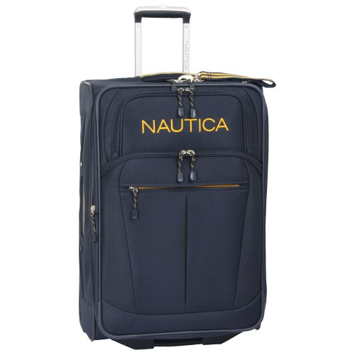 "Nautica 24"" Expandable Spinner Luggage, Navy/yellow"