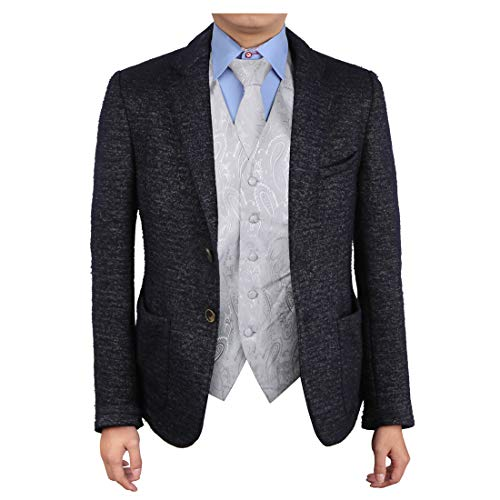 Epoint EGD1B03A-S Silver Paisley Vest Microfiber Mens Tuxedo Vest Neck Tie Set Inspirational For Birthday ()