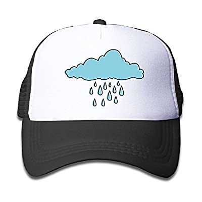 Children's Grid Cap Cloud Sky Silhouette with Rain Drops Kid's Cute Cool Fitted Mesh Cap with Adjustable Snapback Strap Hat