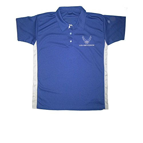 Force Performance Polo - JWM Men's Performance Polo Shirt US Air Force Large Royal/Gray
