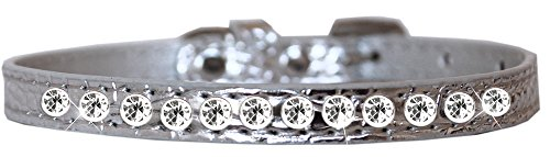 Mirage Pet Products One Row Clear Jewel Croc Dog Collar Silver Size 12