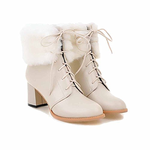 Allhqfashion Womens Lace-up Kitten-tacchi Pu Solid Low-top Stivali Beige