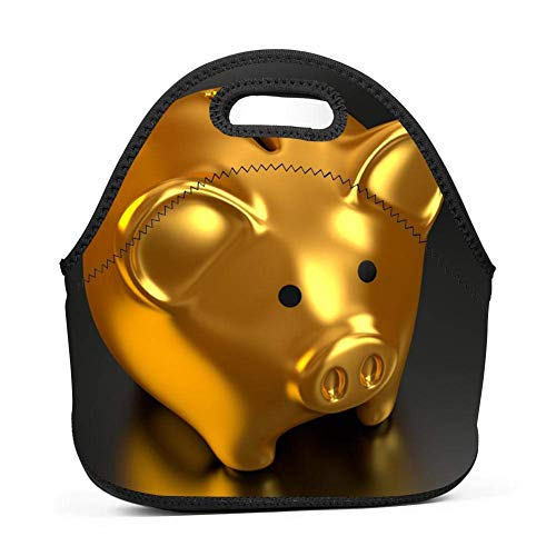 Lwbd gold pig-QW6204 Insulated Neoprene Lunch Bag Tote Handbag lunchbox Food Container Gourmet Tote Cooler warm Pouch For School work Office -